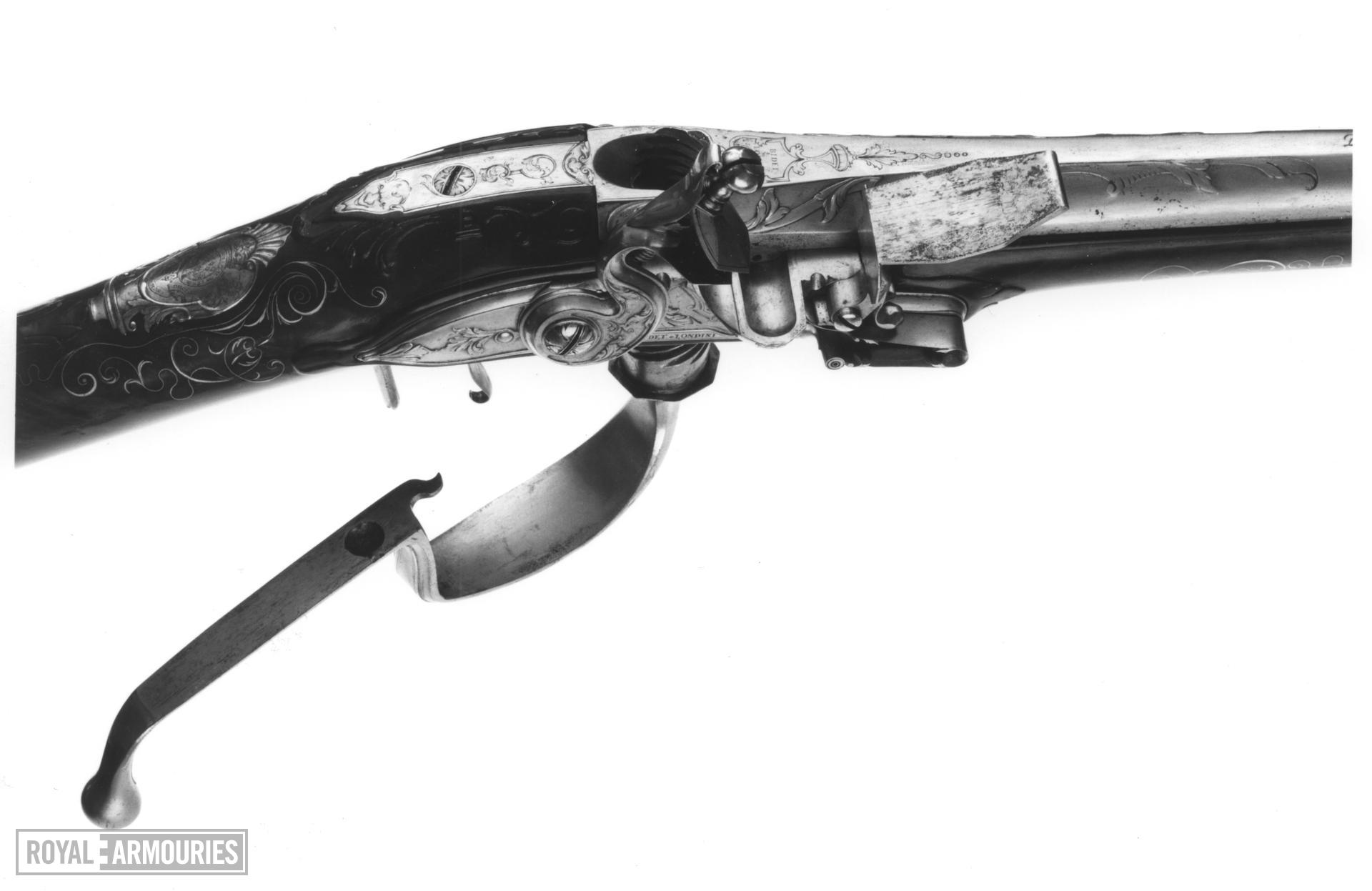 Flintlock breech-loading gun Sporting gun, possibly by Michael Bidet for George I or George II