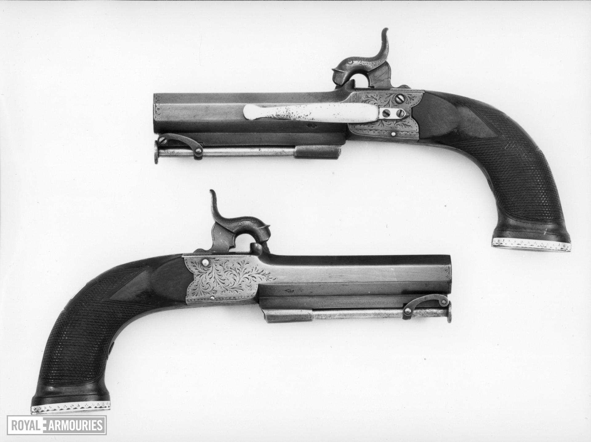 Percussion pistol Gerding's invention Cased; one of a pair; see XII.1790 A