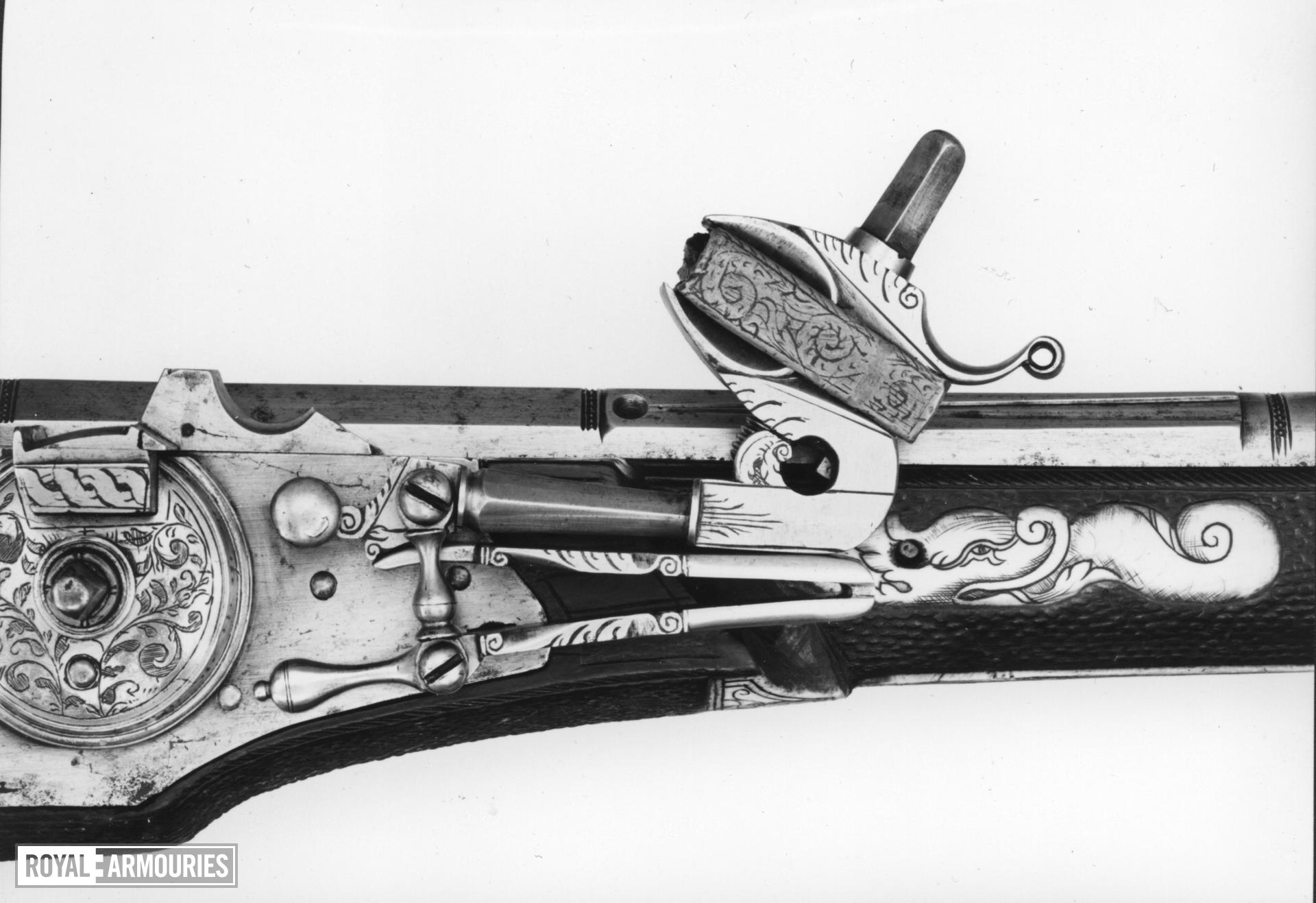 Wheellock muzzle loader holster pistol - By Zacharias Herold For the guard of the Elector Christian II of Saxony One of a pair; see XII.1252