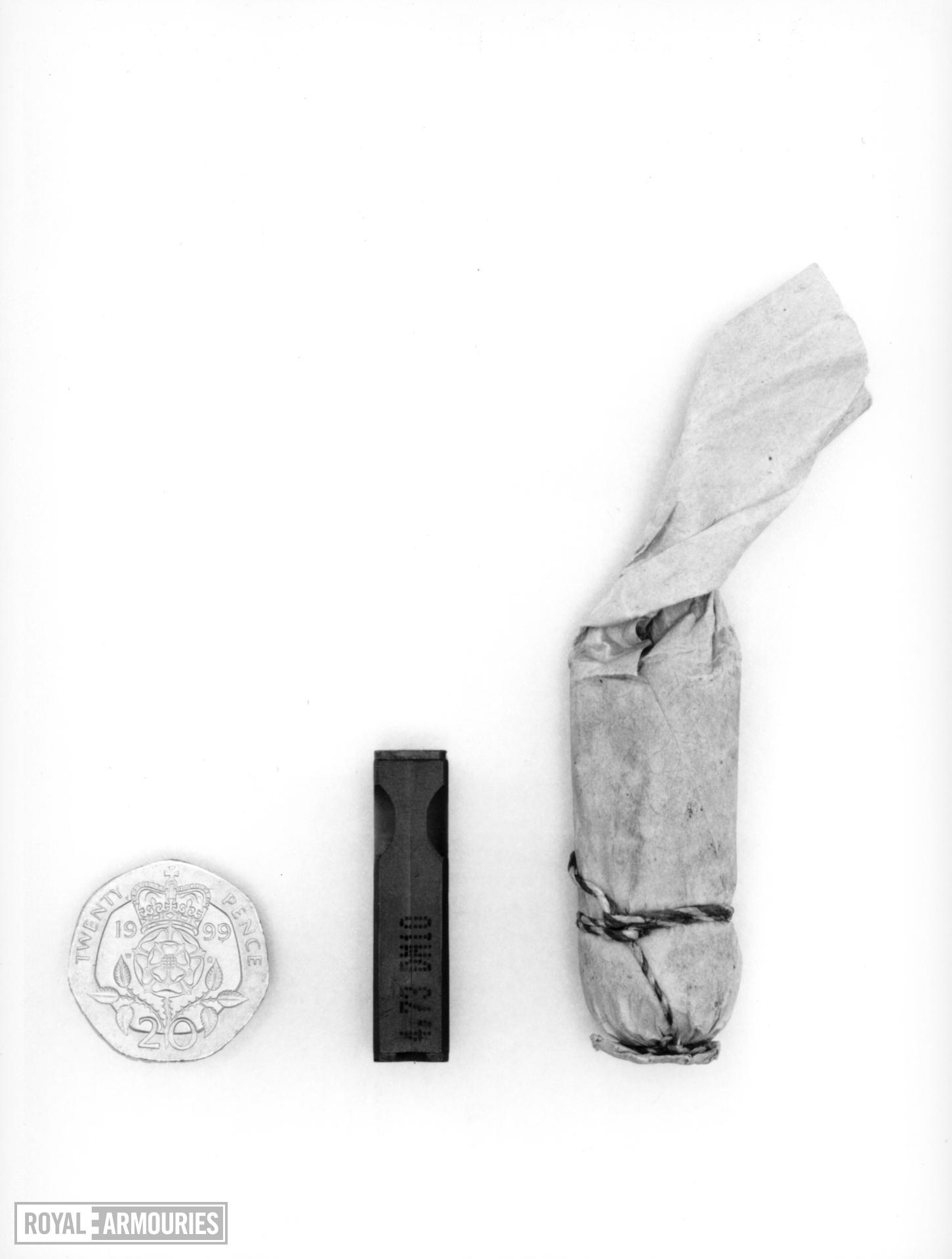 Paper pistol cartridge - .68 in Percussion Pistol