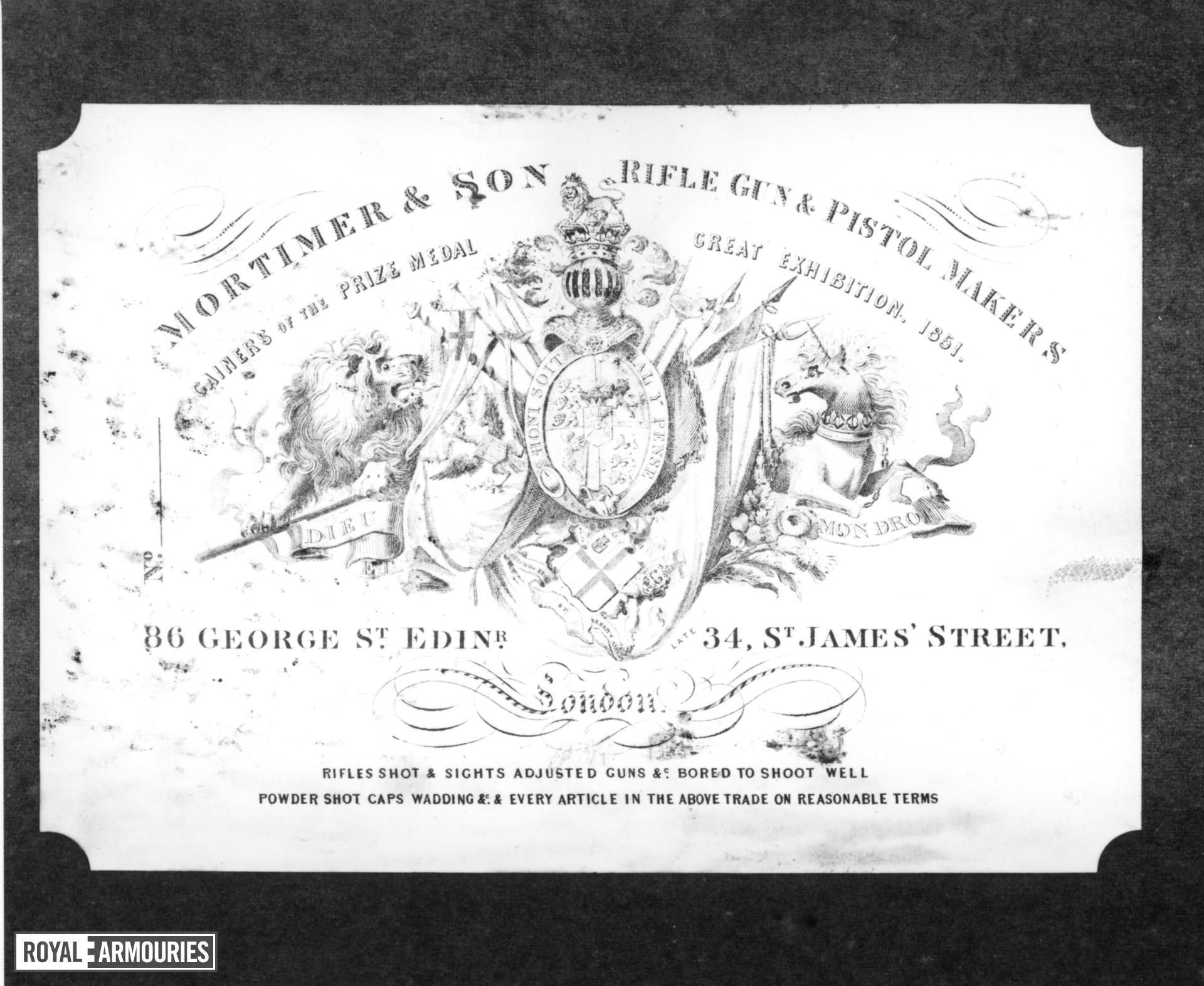 Flintlock sporting gun - By Mortimer Cased