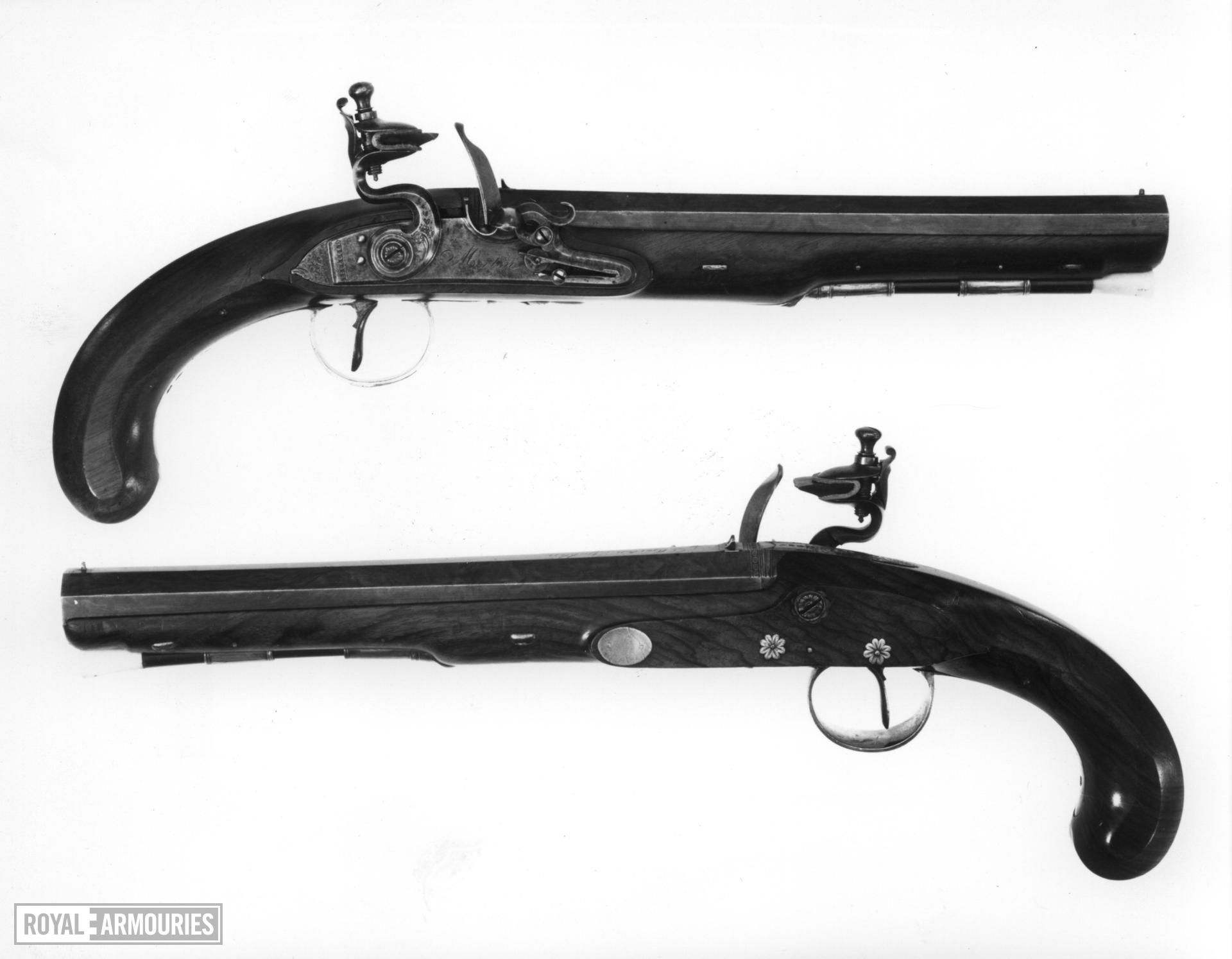 Flintlock duelling pistol By Morton pair to XII.1485, for case see XII.1484 A