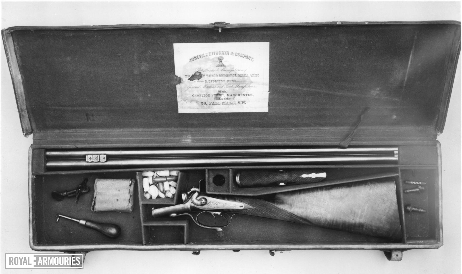 Percussion breech-loading sporting rifle - By Whitworth Cased