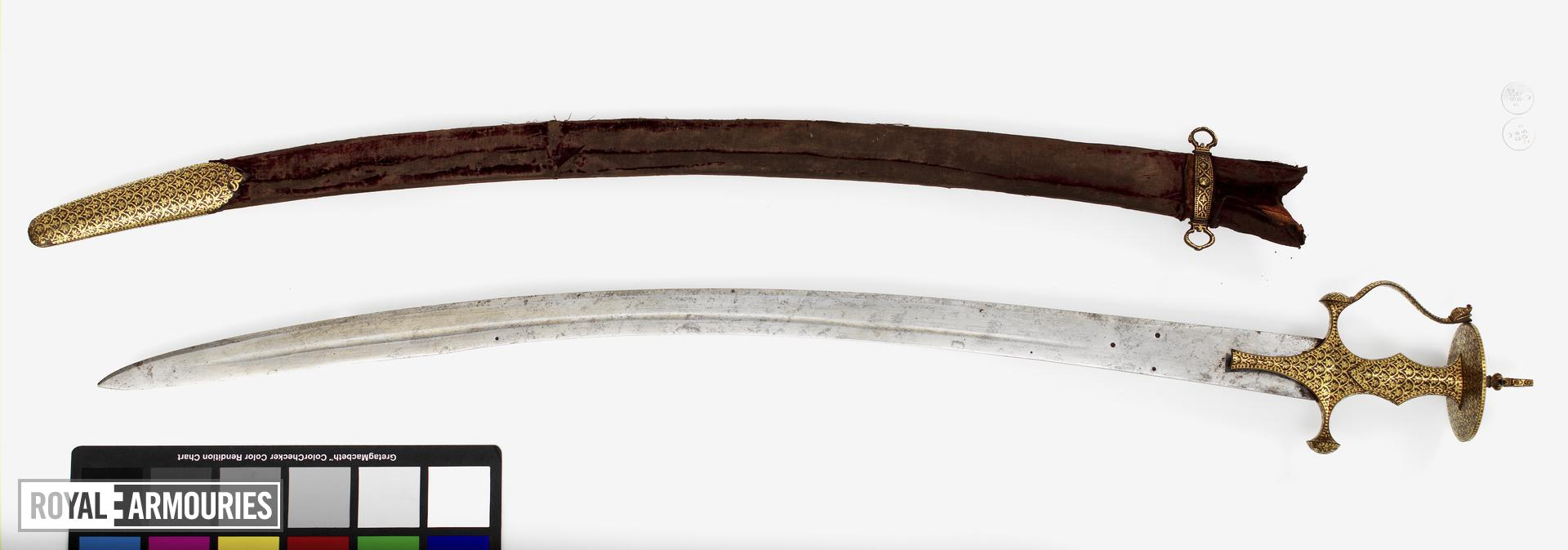 Sword (talwar) and scabbard possibly for one of the Nizams of Hyderabad.