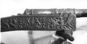 Thumbnail image of 2.3 in gun and carriage Made of brass One of a pair of guns, see also XIX.36; carriage original