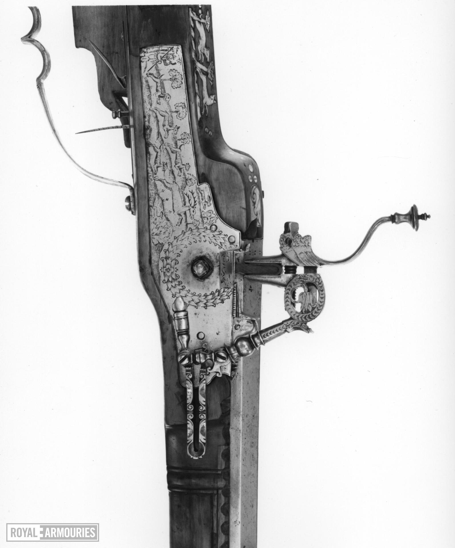 Wheellock muzzle-loading sporting rifle - By Samuel Dopfer