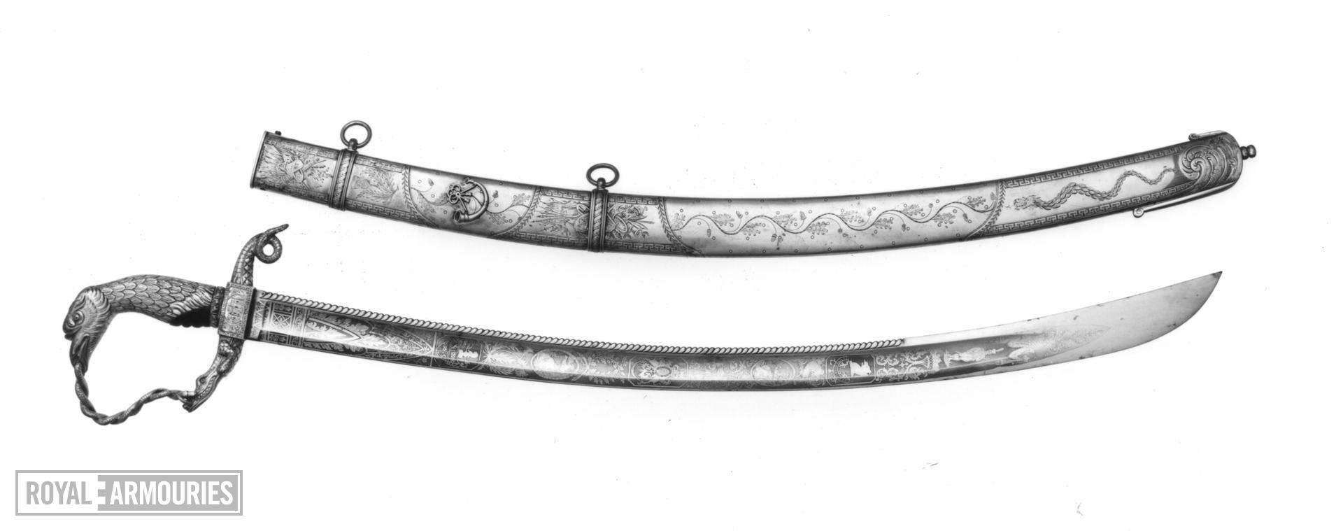 Sabre and scabbard Presentation sabre and scabbard. Presented to Hope Stewart.