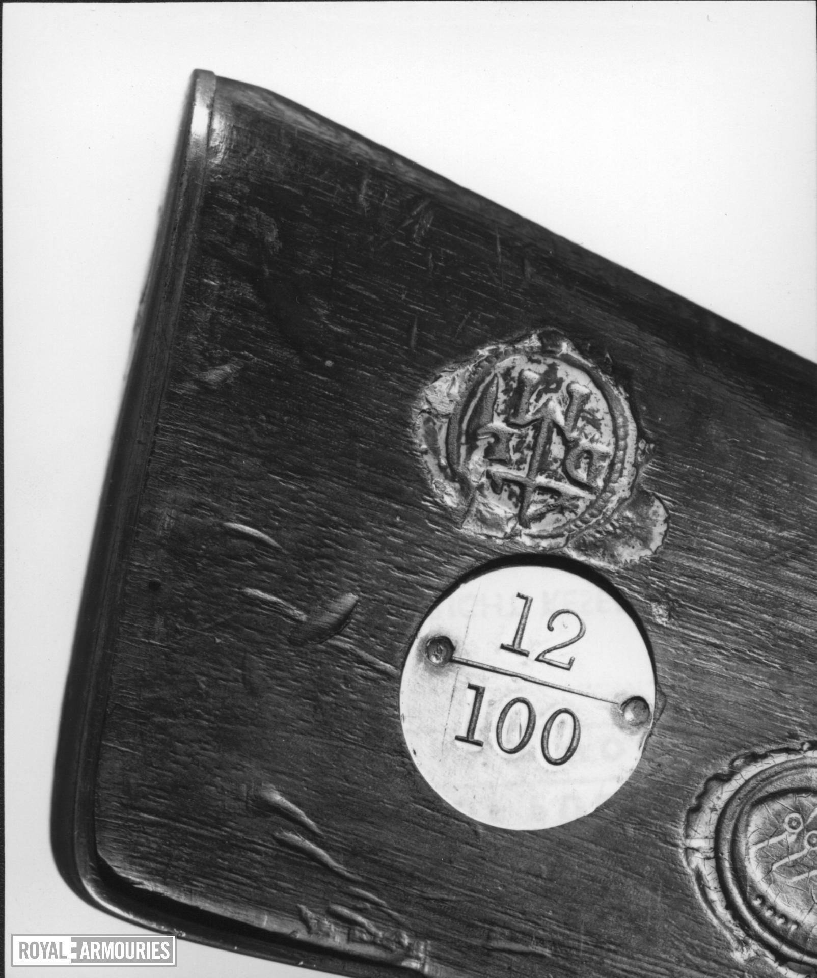 Flintlock muzzle-loading military musket - Hessian model, sealed pattern Hessian (?) Sealed Pattern