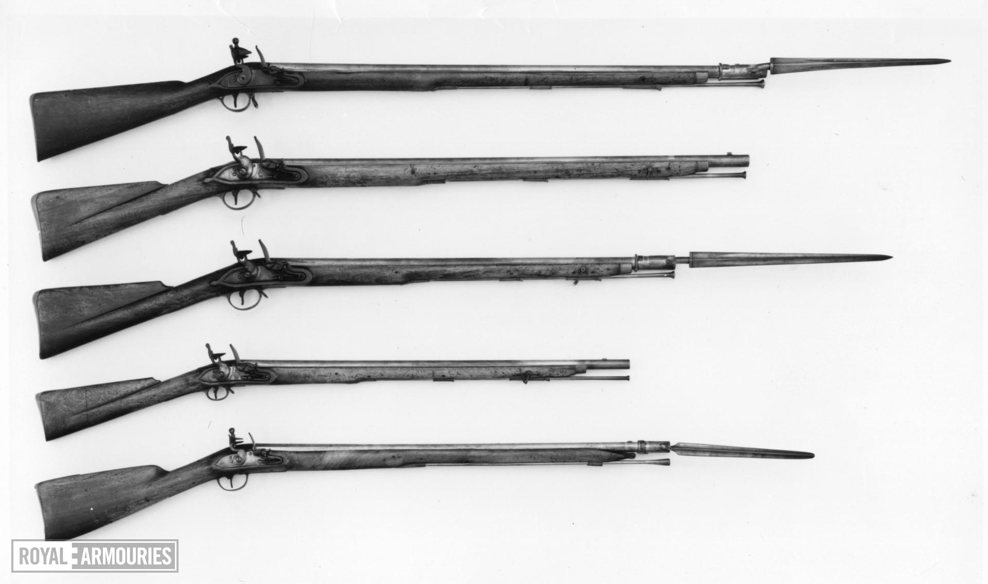 Flintlock musket Small in size, with socket bayonet
