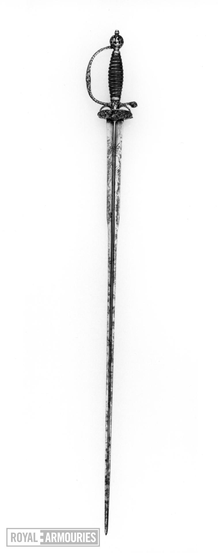 Sword and scabbard Small-sword. Silver hilt by Mary Carman (II), dated 1763-64; sword - A; scabbard - B.