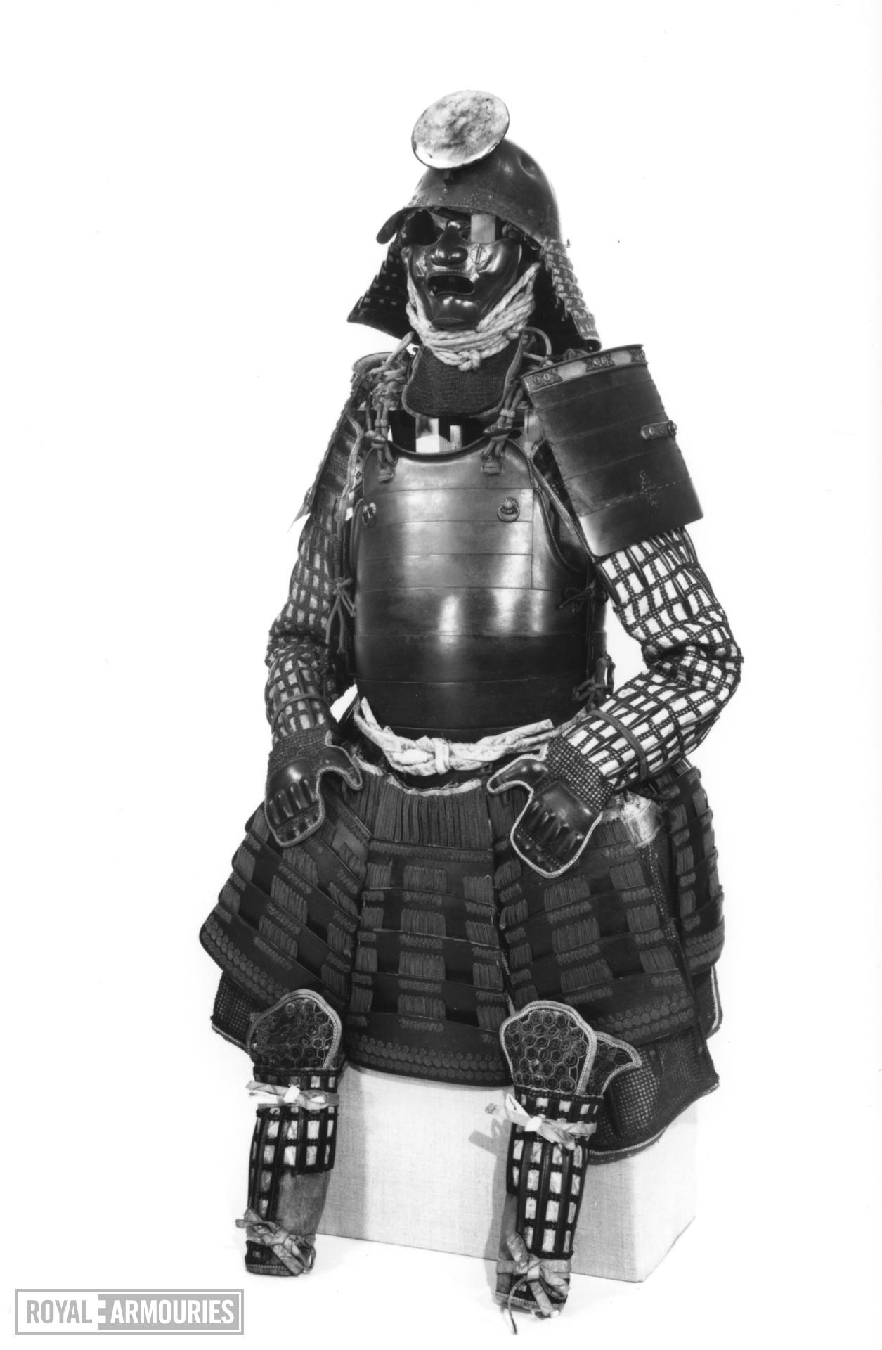 Armour (tosei gusoku) with tested helmet and do with sliding rivets.