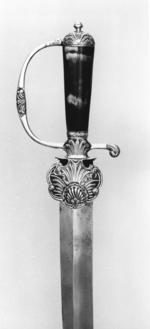 Thumbnail image of Hanger Hanger. maker's mark, probably PM, for Peter Marsh; scabbard marked Hervett[?]