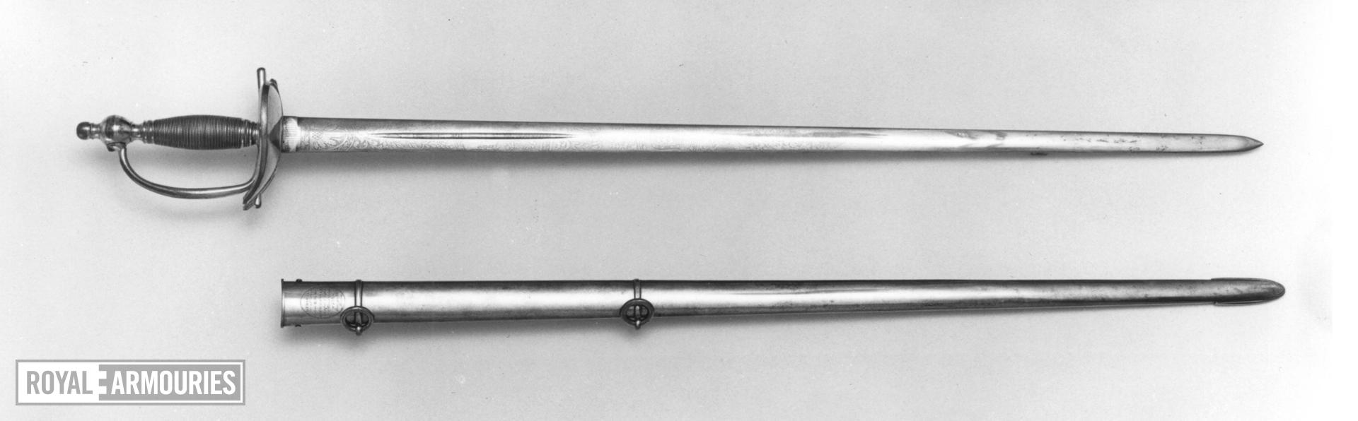 Sword and scabbard Heavy cavalry officer's sword and scabbard, similar to dress Pattern 1796, by Reddell.