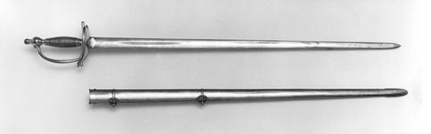 Thumbnail image of Sword and scabbard Heavy cavalry officer's sword and scabbard, similar to dress Pattern 1796, by Reddell.