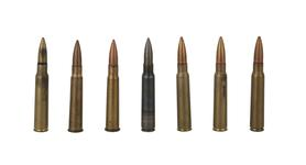 Thumbnail image of 7mm ammunition. From left to right. XX.3005, XX.3000, XX.3001, XX.3008, XX3105, XX.3006, XX.3007