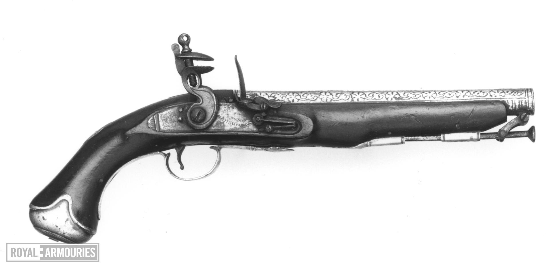 Flintlock pistol with koftgari decorated barrel.