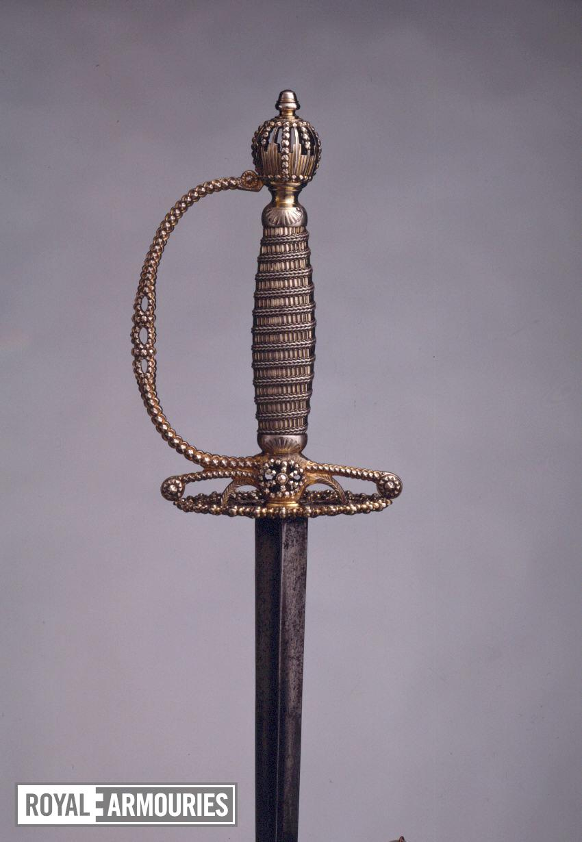 Sword Small-sword, silver hilt by William Kinman, dated 1774-1775.