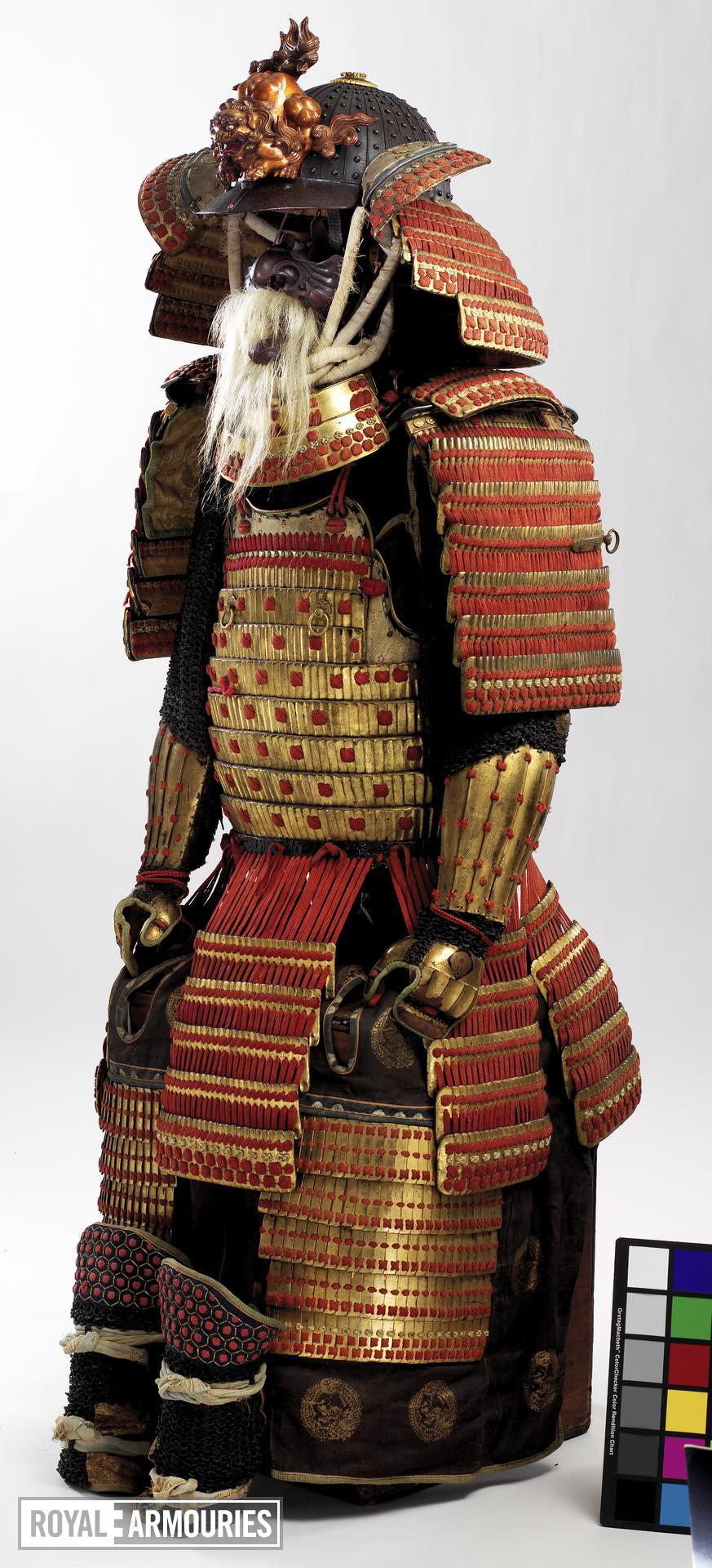 Red laced armour (tosei gusoku) with shishi crest