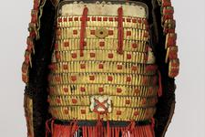 Thumbnail image of Red laced armour (tosei gusoku) with shishi crest