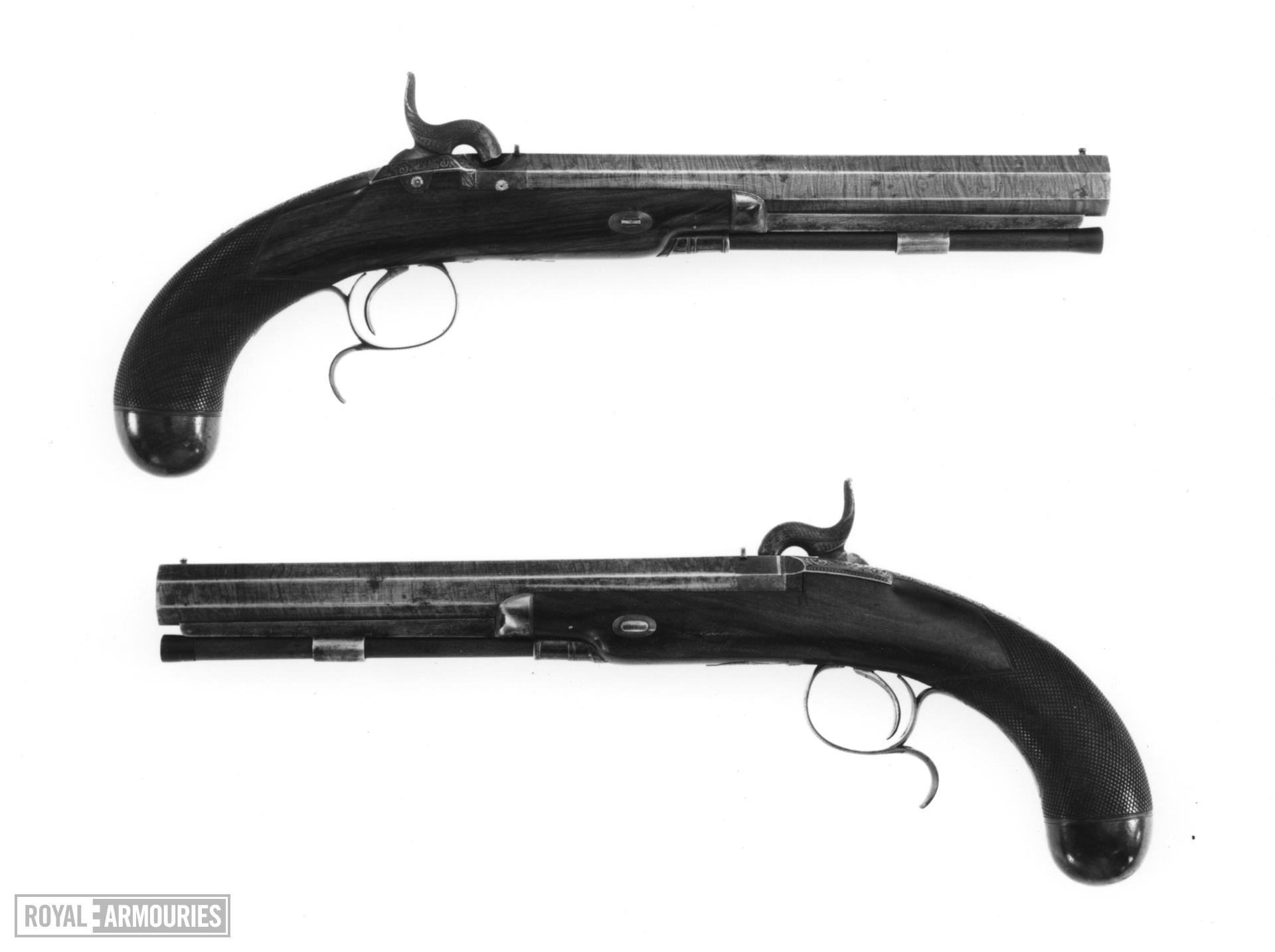 Percussion duelling pistol By Riviere Cased; one of a pair; see XII.1461 A