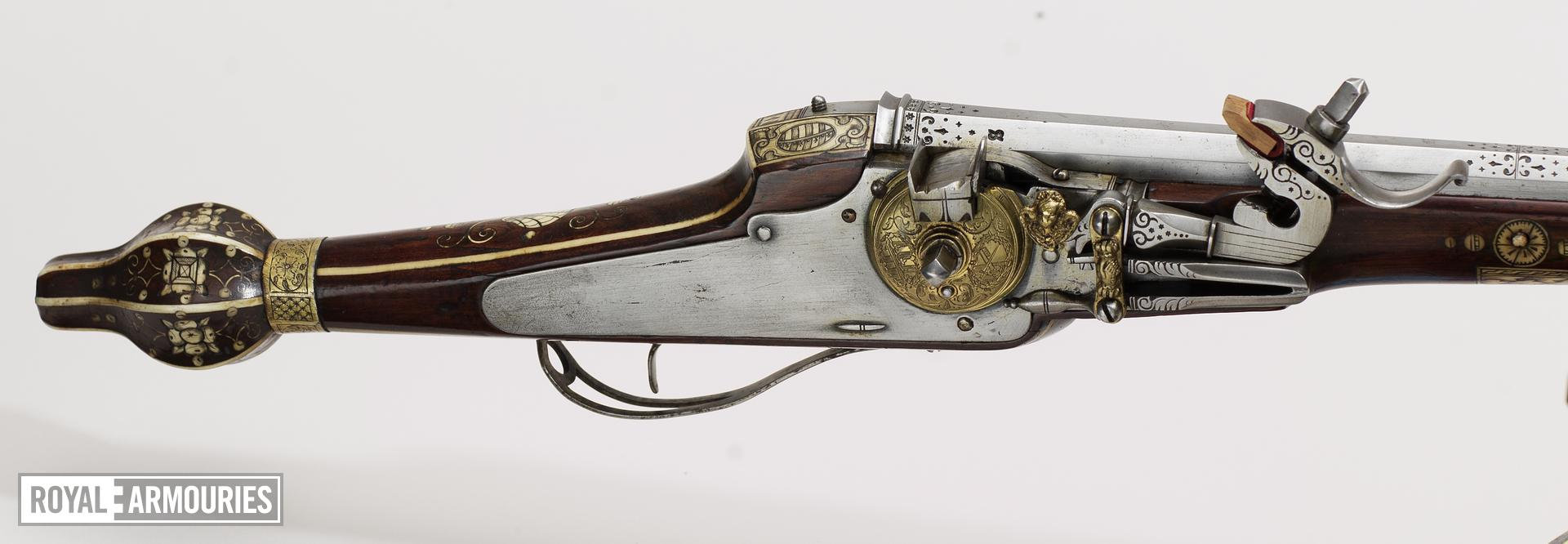 Wheellock muzzle-loading holster pistol - N/A For the guards of the Elector Christian II of Saxony. One of a pair; see XII.1258