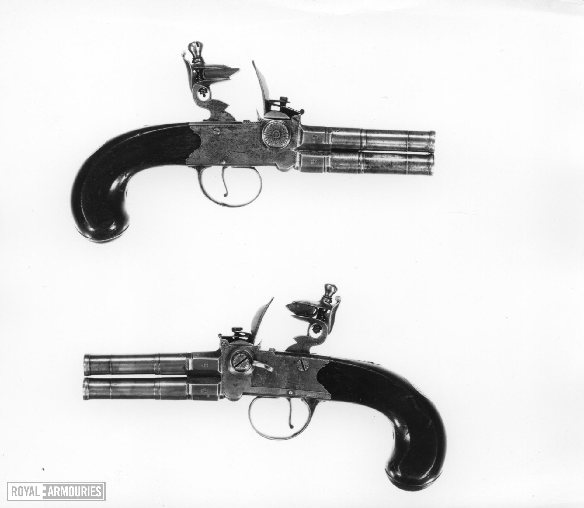 Flintlock four-barrelled pistol