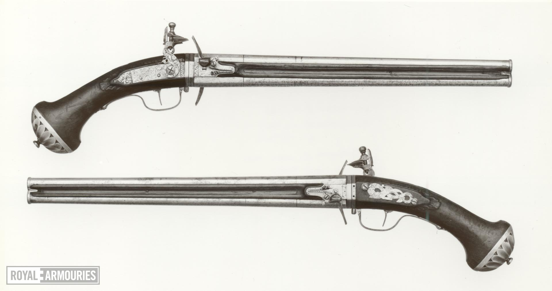 Flintlock double-barrelled pistol By Harman Barne One of a pair see XII.4744