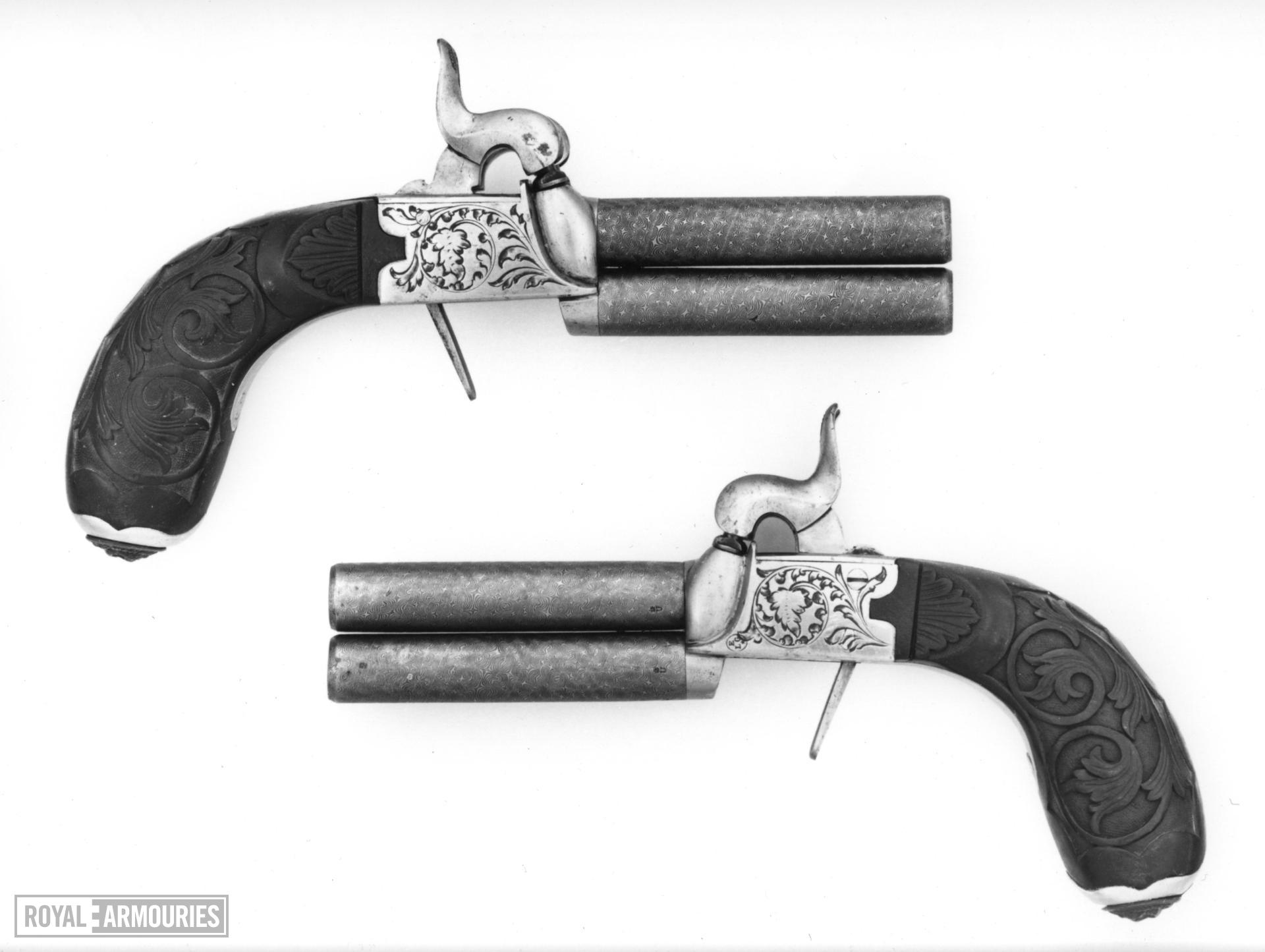 Percussion double-barrelled pistol One of a pair; see XII.2899