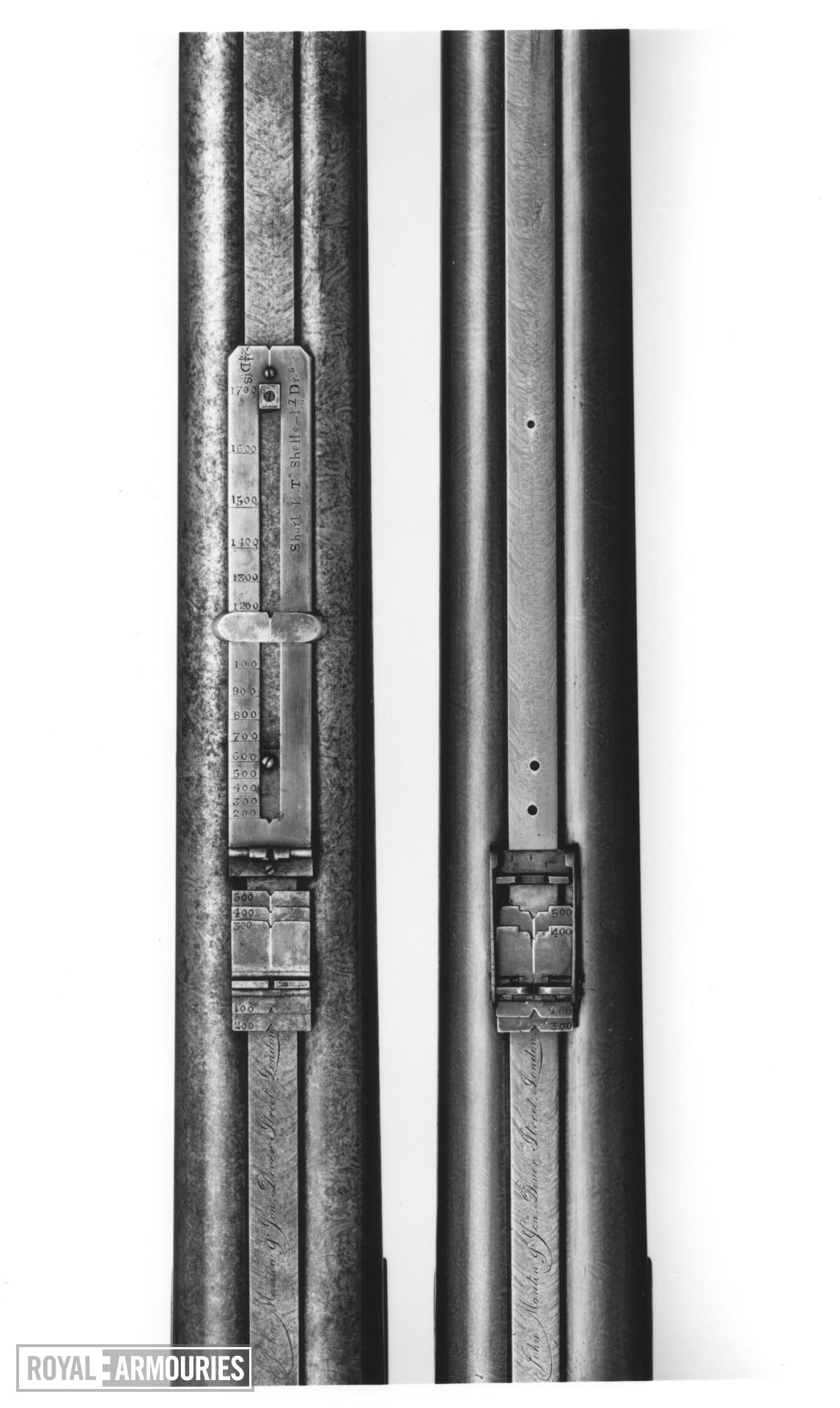 Percussion muzzle-loading double-barrelled rifle - By John Manton and Son For Lt.Col. John Jacob, Cased for case see XII.10637 A