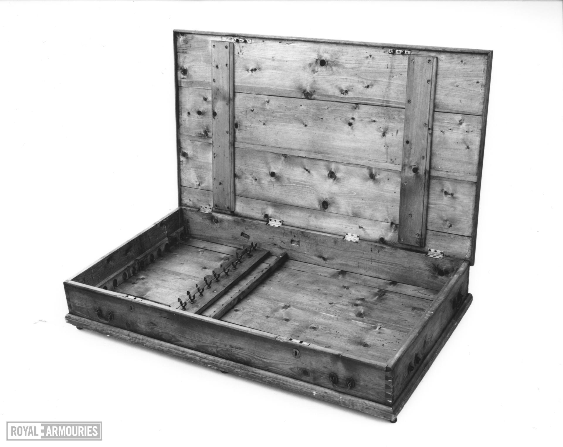 Chest of arms Made by Woolley, Sargant and Fairfax. Pine Chest containing twelve flintlock musketoons, pistols, bayonets and cutlasses