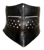 Thumbnail image of Visor For a Bascinet. Made by Samuel Pratt for a sallet (IV.748). Probably from an English church, subsequently modified into a bascinet