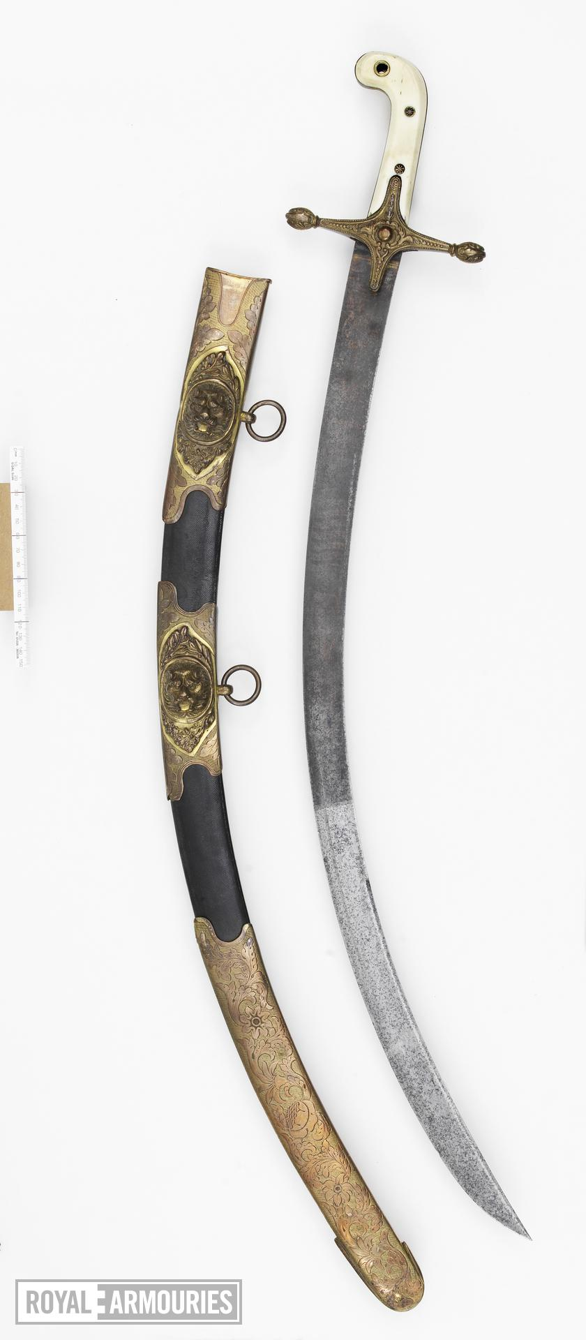 Sword and scabbards Heavy Cavalry Officer's Dress sword and two scabbards. Mameluke-hilted sword for 5th Dragoon Guards.