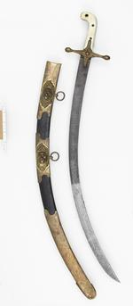 Thumbnail image of Sword and scabbards Heavy Cavalry Officer's Dress sword and two scabbards. Mameluke-hilted sword for 5th Dragoon Guards.