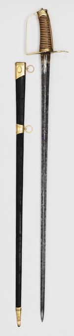 Thumbnail image of Sword and scabbard Presentation sword and scabbard. Presented to Captain Robert Waller Otway, R.N.