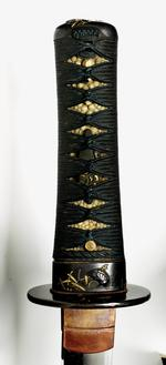 Thumbnail image of Sword (wakizashi) by Seshu ju Nagatsuna, with wakizashi mount.