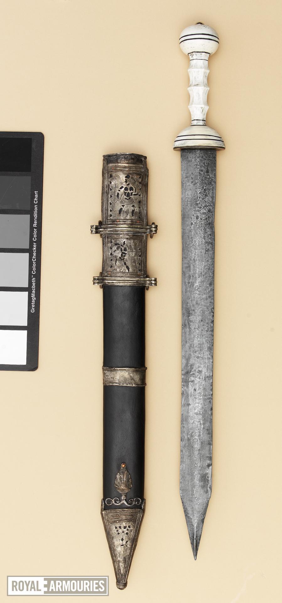 Gladius and scabbard Replica of IX.5583, Roman gladius and scabbard