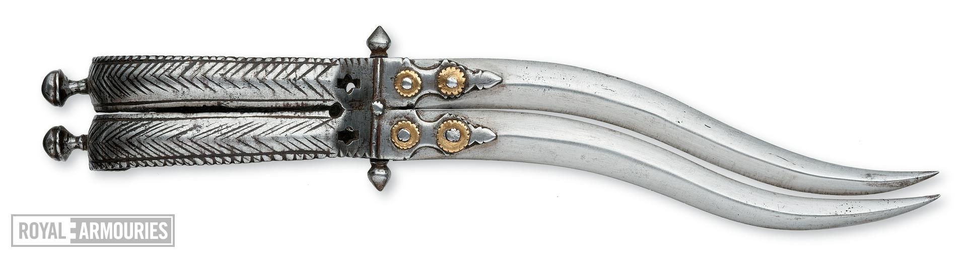 Dagger (bichwa) and scabbard with double blade.