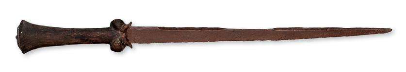 Thumbnail image of Ballock dagger with a grip of circular section, and a long narrow blade. Probably English, 15th century (X.1742)