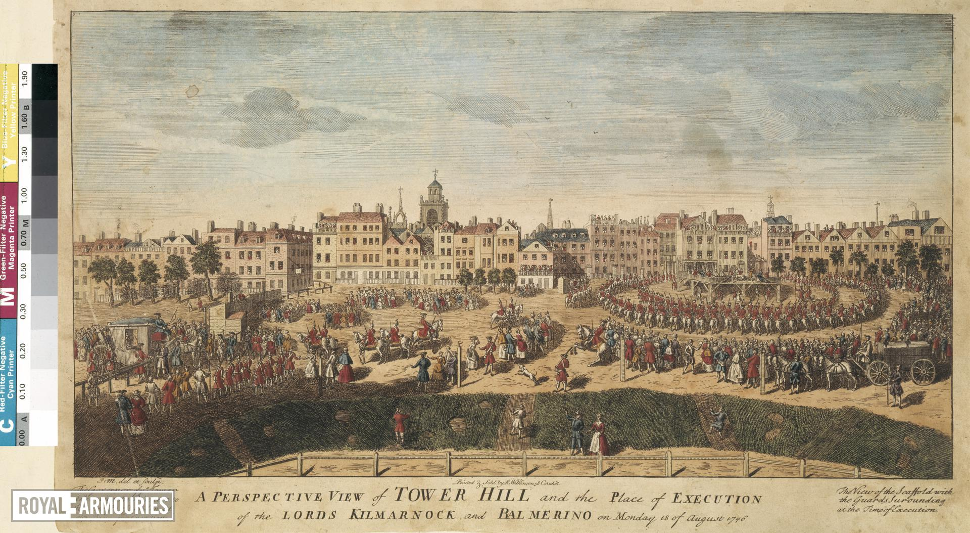 Print View of Tower Hill and the Tower of London from the north-east,  and the execution of Lord Kilmarnock and Balmerino, 18 August, 1746.