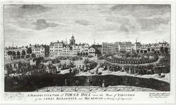 Thumbnail image of Print View of Tower Hill and the Tower of London from the north-east,  and the execution of Lord Kilmarnock and Balmerino, 18 August, 1746.