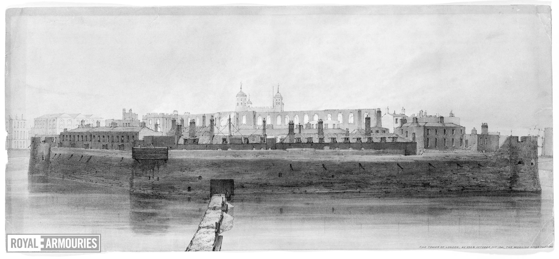 Print Lithograph:  The Tower of London, as seen October 31st, 1841,  the Morning after the Fire',dated 1841.