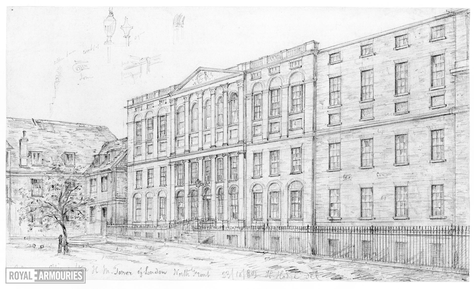 Drawing THE ORDNANCE OFFICE FROM THE NORTH AND THE OLD HORSE ARMOURY