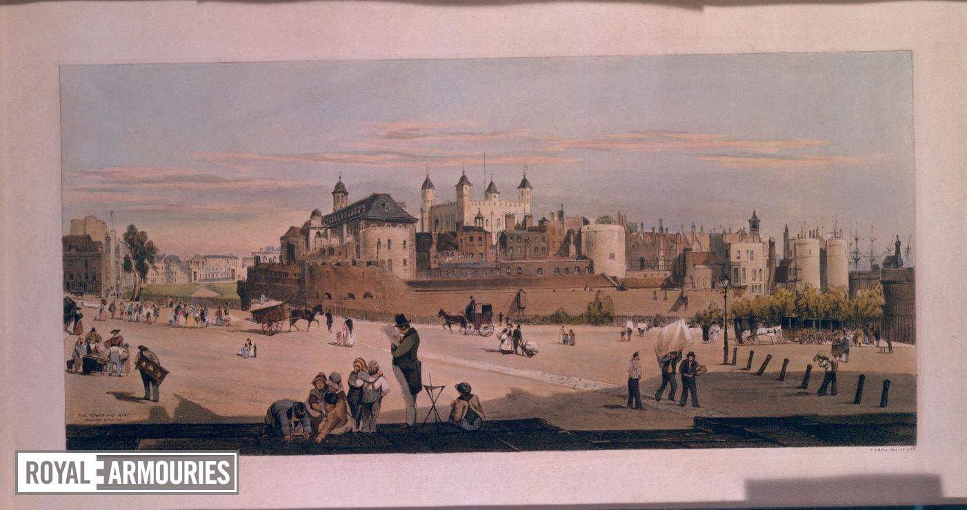 Print The Tower and Mint from Great Tower Hill, by T. Shotter Boys, 1842. Coloured lithograph