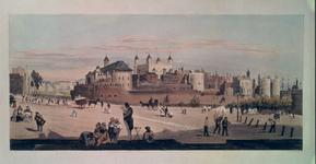 Thumbnail image of Print The Tower and Mint from Great Tower Hill, by T. Shotter Boys, 1842. Coloured lithograph