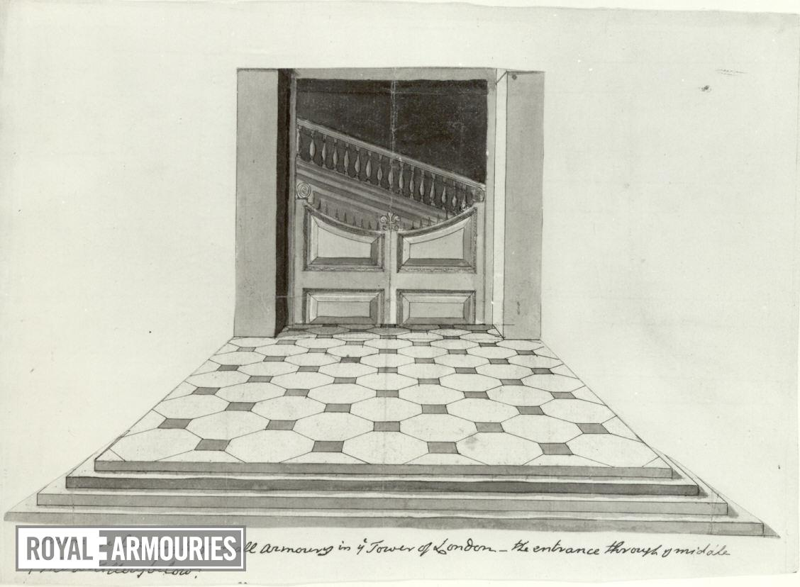 Drawing The Staircase in the Grand Storehouse, Tower of London.