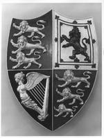 Thumbnail image of Royal coat of arms Wooden shield bearing the Royal Arms
