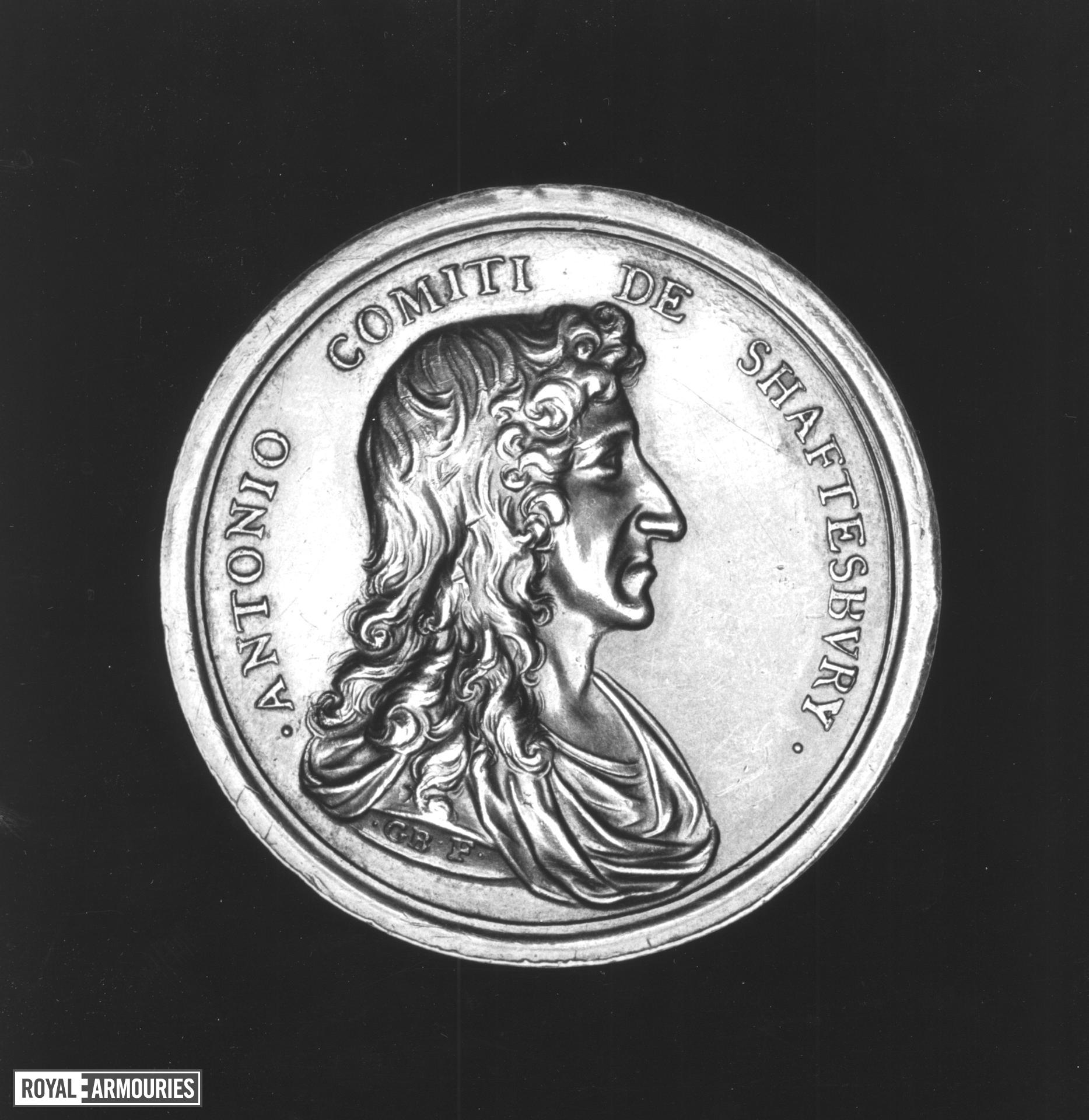 Commemorative Medal - By G. Bower Commemorating the the Earl of Shaftesbury's release from the Tower, 1681 Silver medal by G.Bower