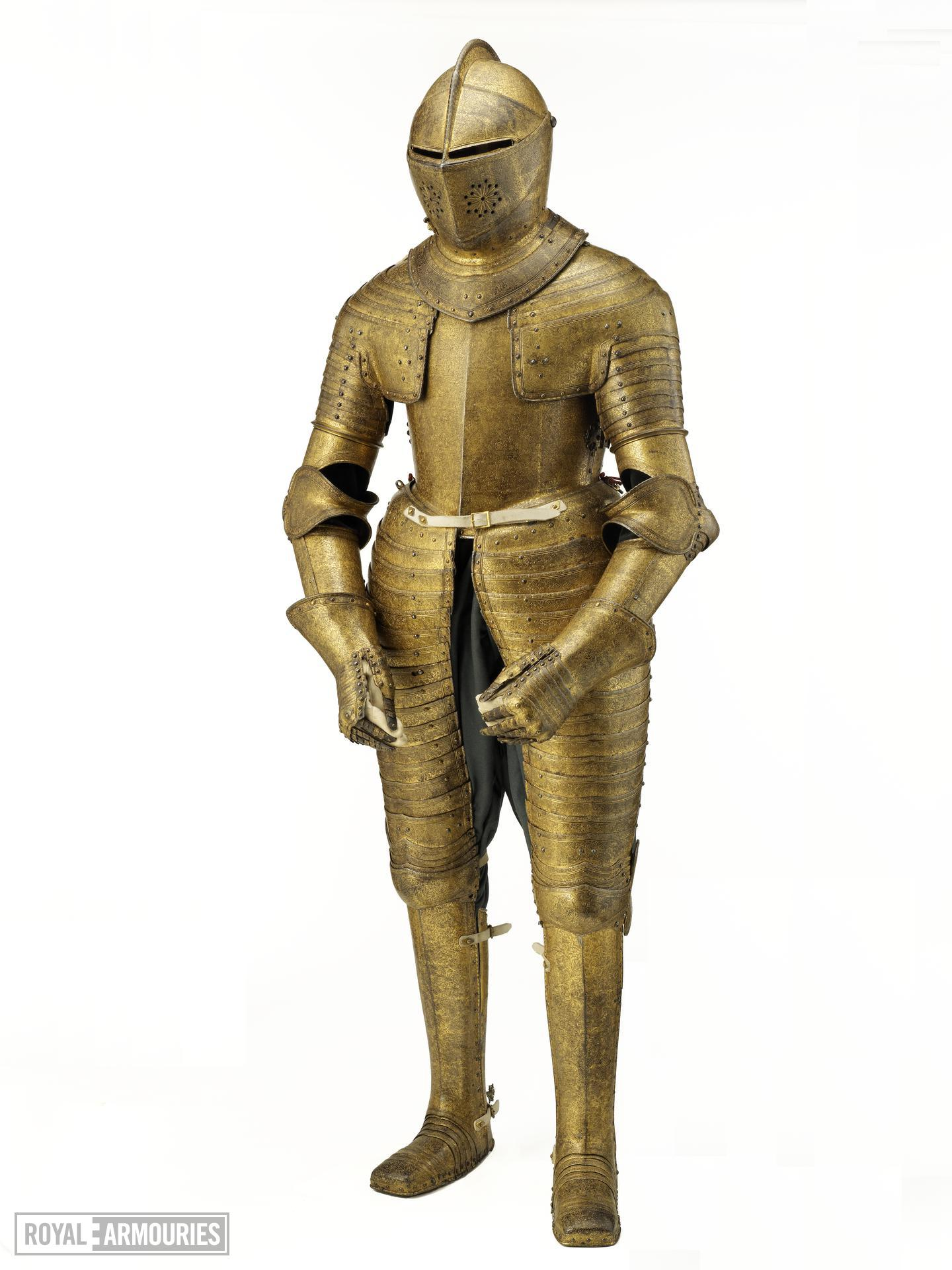Field armour of King Charles I (known as the Gilt armour). Dutch, about 1612-13. Possibly made by Charles Dartene (II.91)