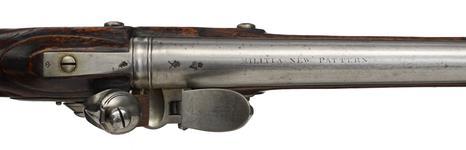 Thumbnail image of Flintlock muzzle-loading musket - Pattern 1759 Militia New Musket, pattern sample Pattern weapon but not sealed By Farmer