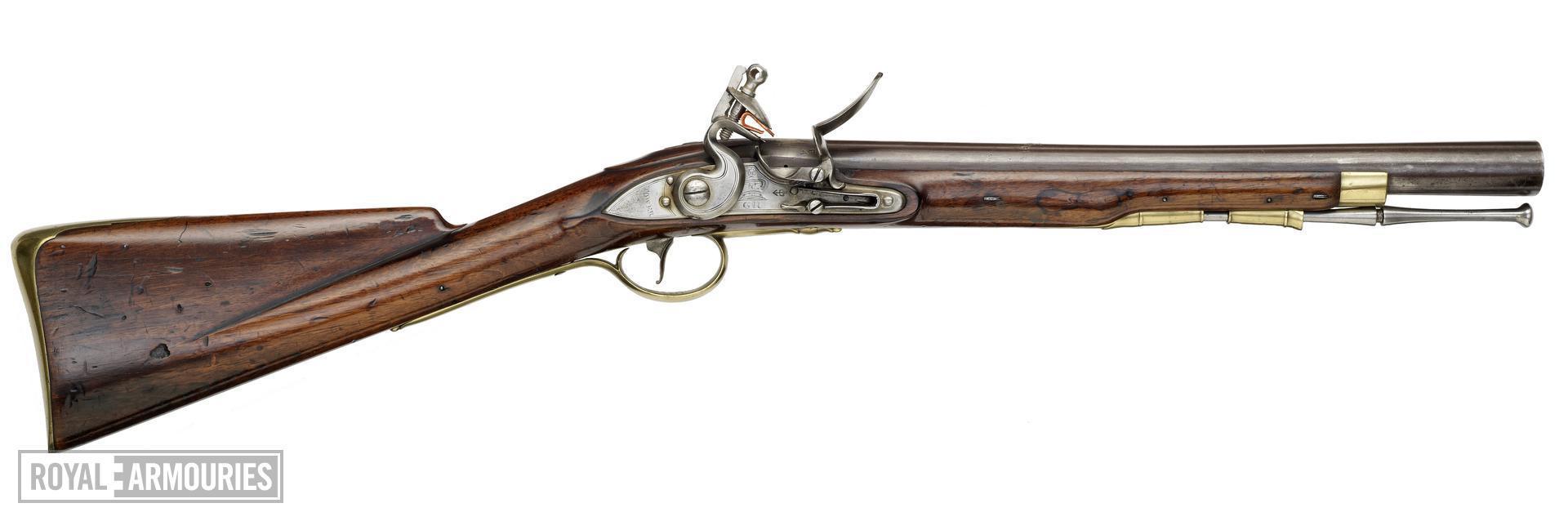 Flintlock muzzle-loading blunderbuss - 1781 Burgoyne's Musketoon Steel barrel with elliptical muzzle.